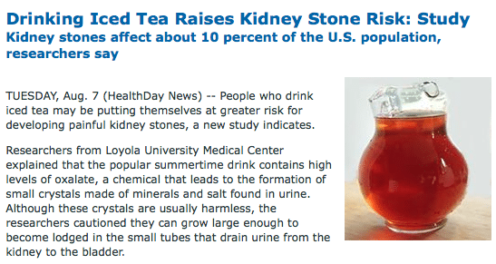 iced tea, kidney stones, and the study that never existed, Human Body