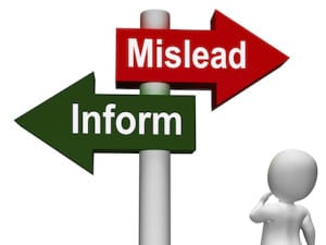 Mislead Inform Signpost Shows Misleading Or Informative Advice