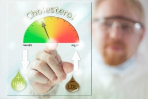 Physician and Cholesterol Level Meter at Screen