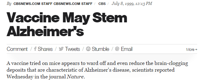 CBS vaccine for Alzheimer's headline
