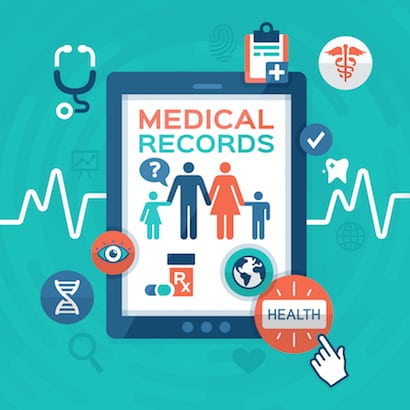 Electronic medical records health information flat design mobile device concept.