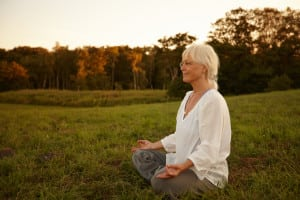 Meditating in beautiful surroundings