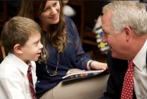 "The public relations campaign supporting the 21st Century Cures Act has emphasized stories of children with rare diseases such as ""Our Friend Max,"" pictured above with Rep. John Shimkus (R-IL)."