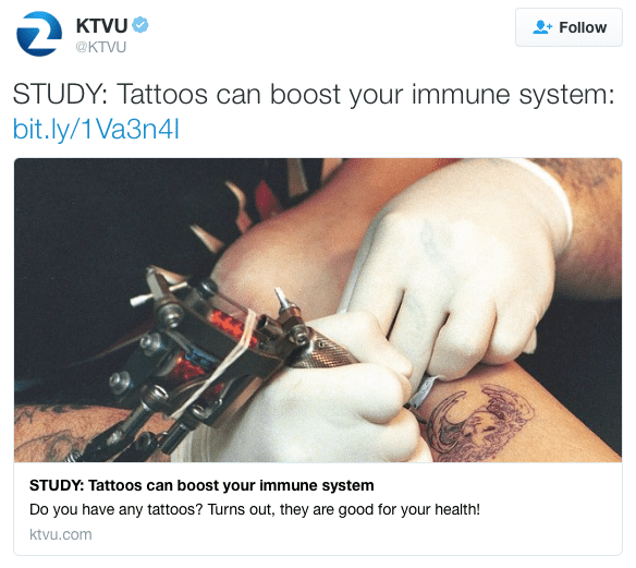 Tattoos boost immunity