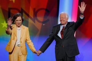 Former U.S. President Jimmy Carter and former first lady Rosalynn Carter on stage during the 2008 Democratic National Convention.