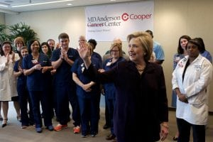 Camden, New Jersey, U.S.A. - May 11, 2016; Presumable candidate for the Democratic party Hillary Clinton visits MD Andersen Cooper Cancer Center in Camden, New Jersey during a campaign stop in South Jersey.