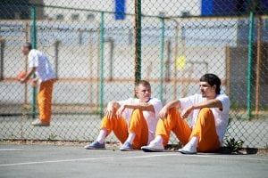 Prisoners communicating during walk