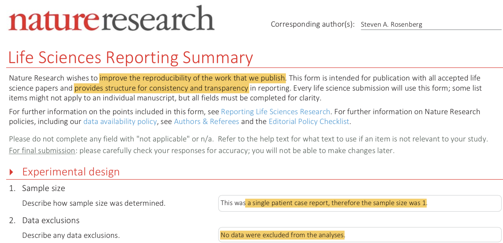 And Here Is The Required Reporting Summary Completed By Author In Nature Medicine