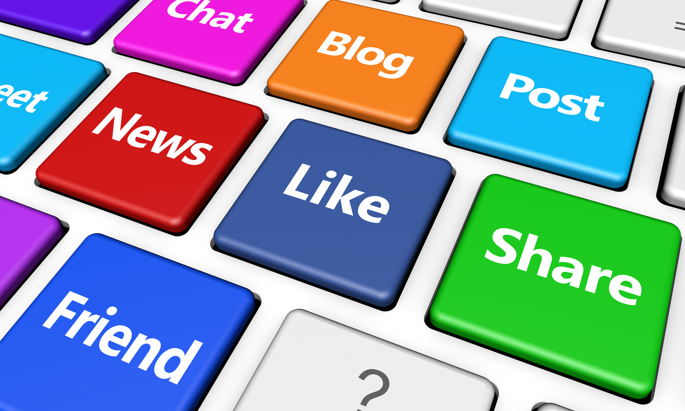 social media keyboard blog like share - HealthNewsReview org